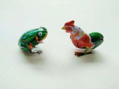 Uchic 2 pcs vintage Métal Wind-up Jumping Frog Cock Modèle Clockwork Tin Toys Collectible Classic Toys Cadeau pour enfant