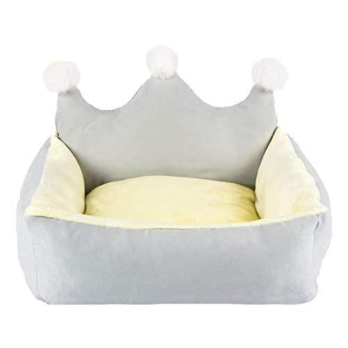 SYQY Nette Krone Haustier Prinzessin Betten für kleine Hunde Winter warme Welpe Katze Schlafsofa Shih Tzu Yorkies Zwinger Abnehmbare Maskottchen Zubehör-Graue Krone_S-unter 4,0 kg