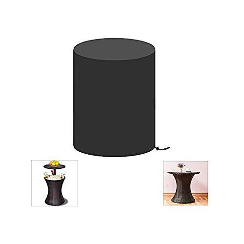 Onlyme - Funda redonda para mesa de bar de patio, impermeable, 420D, color negro (50,8 cm de profundidad x 58,4 cm)