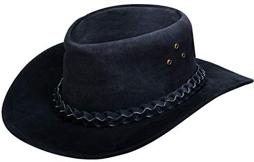 Australian Unisex Black Western Style Cowboy Outback Real Suede Leather Aussie Bush Hat L