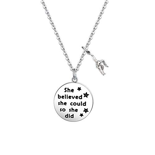 FUSTMW Gymnast Gift Gymnastics Charm Necklace Gymnastics Jewelry Gymnastics Class Gift for Gymnast She Believed She Could So She Did (Necklace)