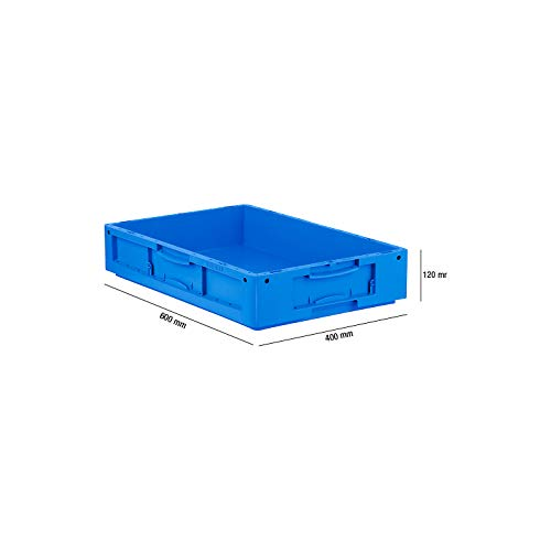 SSI Schäfer LTB 6120 Eurokiste Kunststoffbox Transportbox ohne Deckel, 600x400 mm, 20,3 l, 50 Kg Tragkraft, Made in Germany, Blau