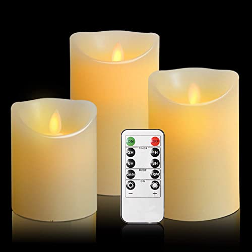Antizer LED Candles, Flameless Candles, 180 Hour Decorating Pillars, Set of...
