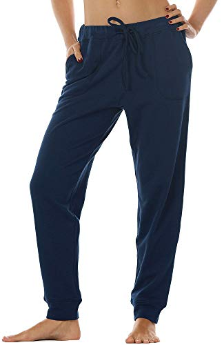 icyzone Damen Hose Jogginghose Lang Sweathose - Sporthose Trainingshose Running Gym Pants (XL, Navy)