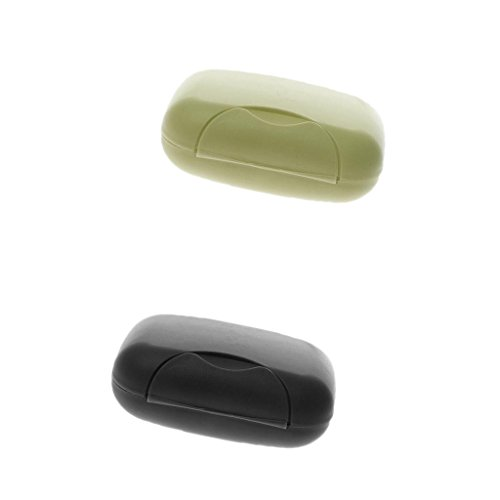 Generic Lot 2pcs Portable Boîte à Savon en Plastique Cas Etanche avec Couvercle pour Voyage - Noir +Vert Olive
