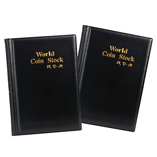 MOPOIN Classeur Pieces de Monnaie, 2 Pièces Album de Collection de Pièces 240 Poche Porte Monnaie Livre de Pièces, Collection de Pièces en Cuir PU pour Collectionneurs de Pièces