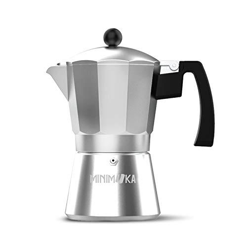 Minimoka Minimoka 3 - Cafetera italiana, 3 tazas, base y filtro de acero inoxidable, mango ergonómico, válvula de seguridad, cierre de silicona para mayor seguridad, apta para: vitro, eléctrica y gas