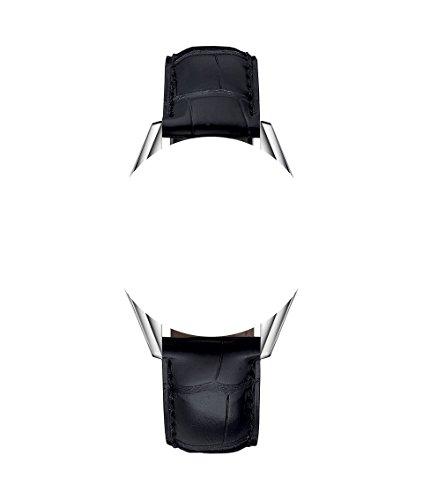 TAG Heuer Uhrenarmband, aus Leder im Alligator-Stil, mit schwarzen Nähten, 22 / 18 mm, Schwarz / Beige