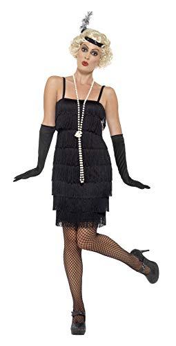 Smiffys Costume Flapper, Nero, Abito corto, Fascia per capelli e guanti, XL (EU 48 - 50)