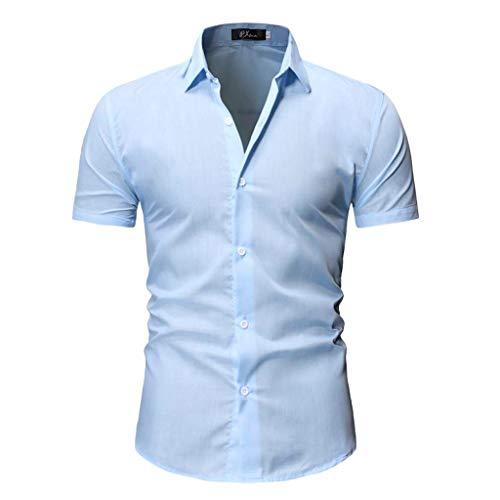 Xmiral Uomo Camicia Originale Slim Fit Maniche Corte Uomo Camicie Moda Men Shirts Slim Fit L Azzurro