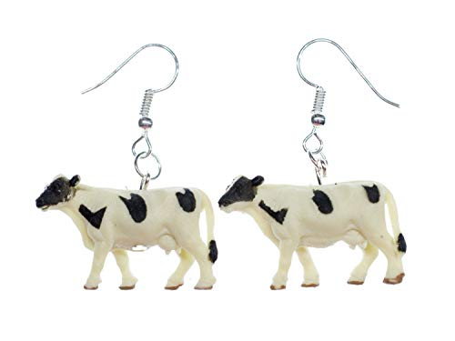 Cow Earrings Miniblings Cows Animals Farm Rubber 30mm Animal Kine