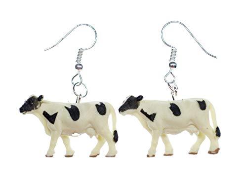 Miniblings Kühe Ohrringe Hänger Tier Farm Bauernhof Kuh 30mm Gummi - Handmade Modeschmuck I Ohrhänger Ohrschmuck versilbert