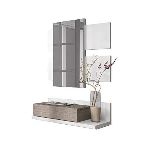 Mobile con 3 Ripiani E Specchio Bianco E Grigio Cenere Mobiletto in Legno Lima Mobile da Ingresso