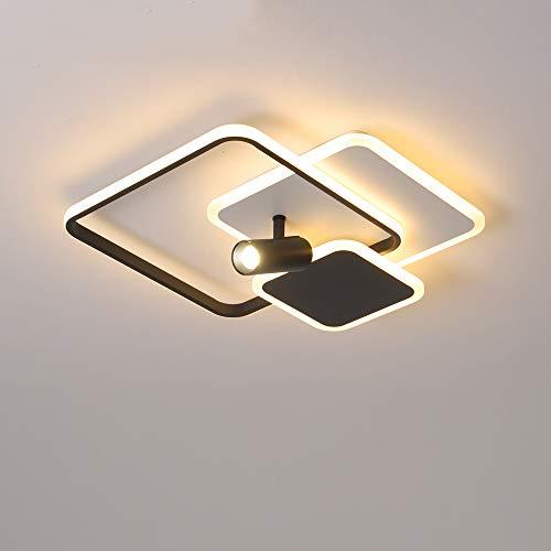 Moderno LED Lámparas de Techo con Foco Dormitorio Regulable con Control Remoto 3 Cuadrado en Blanco y Negro Sala de Estar Comedor Iluminación Interior Oficina Studio Altura 16CM,Ø40CM