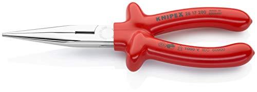 KNIPEX 26 17 200 Flachrundzange mit Schneide (Storchschnabelzange) verchromt tauchisoliert, VDE-geprüft 200 mm