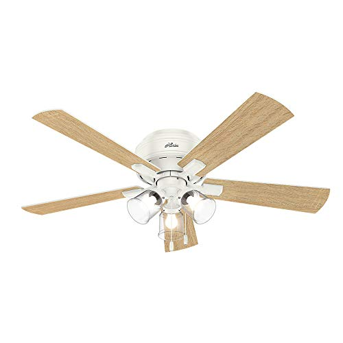 "Hunter Crestfield Indoor Low Profile Ceiling Fan with LED Light and Pull Chain Control, 52"", Fresh White"