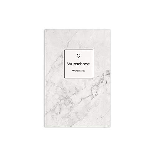 printplanet® - Notizbuch mit Name oder Text selbst gestalten - A5 Tagebuch personalisieren und bedrucken - Motiv: Marmor