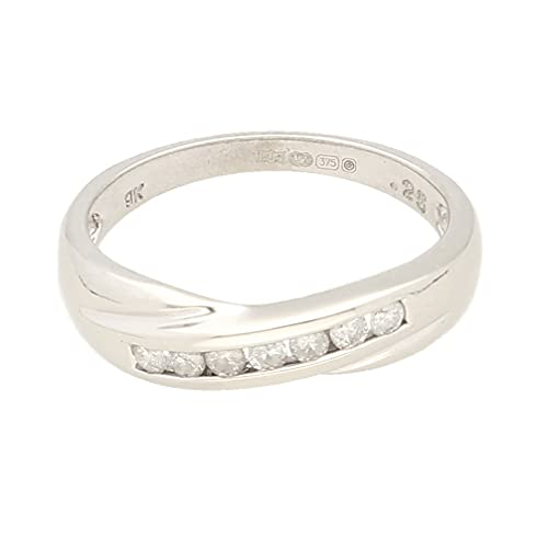 Anillo de eternidad para mujer de oro blanco de 9 quilates de 0,25 quilates con canal, talla Q 1/2, 4 mm de ancho, anillo de lujo para mujer