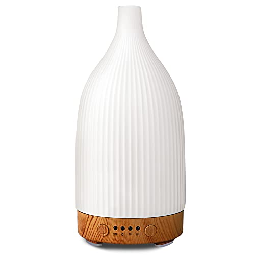 Essential Oil Diffuser, 100 Ml White Ceramic Aroma Diffusers, Aromatherapy Diffuser With 4 Timers Model, Cool Mist Humidifier for Home Office Room (ceramic streak 1)