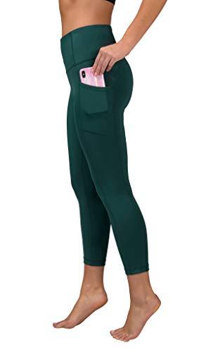 Reflex Capris de yoga de 90 grados de cintura alta a prueba de sentadillas con bolsillo lateral, Eden Green con bolsillo, XS