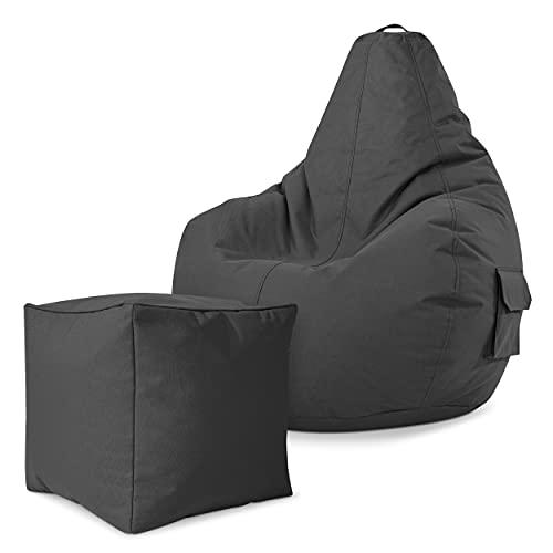 Green Bean Gaming © 2 in 1 Set - Cozy Sitzsack mit 2 Seitentaschen + Cube Hocker - robust, waschbar, schmutzabweisend, wasserfest - für Kinder und Erwachsene - Anthrazit
