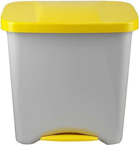 Denox 24160.102 Poubelle à Pédale Écologique, 50 L, Jaune, Polypropylène, Unique