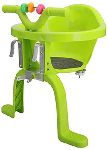 X&Y Asiento Delantero de la Bicicleta para niños, Asiento eléctrico de Seguridad con Bicicleta con Pedal y Cerca de reposabrazos adecuados para niños de 2 a 6 años. (Color : Green)