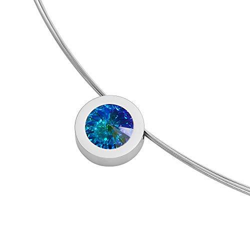 Heideman Halskette Damen Coma 16 aus Edelstahl Silber farbend poliert Kette für Frauen mit Anhänger Swarovski Stein Kristall Aurore boreale Opal