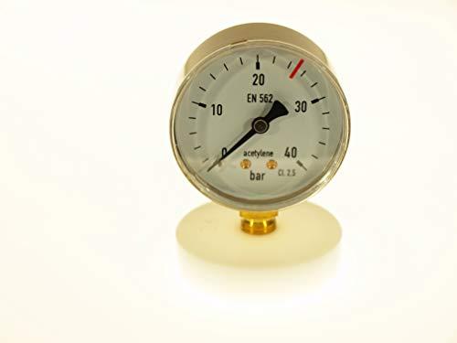 THERMIS Manomètre de soudage 404 | Manomètre de soudage pour la mesure de pression de gaz techniques | Entrée (0-40 bar) | Connexion inférieure