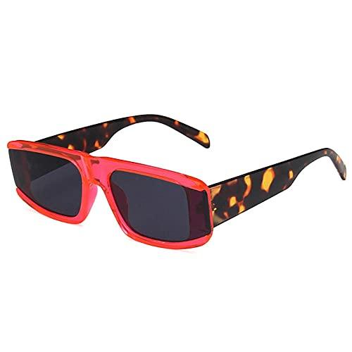WANGZX Gafas De Sol Rectangulares Punk De Moda para Mujer Gafas De Sol Cuadradas Retro para Hombre Gafas Steampunk Retro para Hombre Uv400 Rosered-Black
