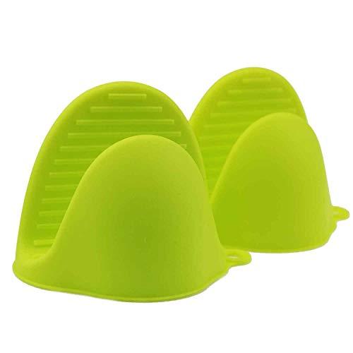 Los guantes de silicona para hornos instantáneos o en la cocina se usan como agarraderas o soportes para hornear. Los soportes para guantes se pueden usar al cocinar en una parrilla (verde, 2pcs/set)