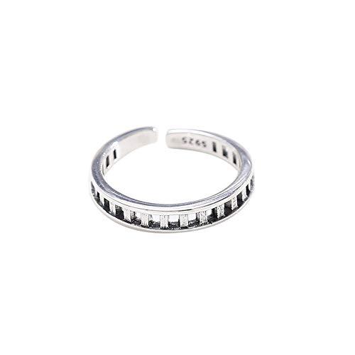 XINJIEJIE S925 Silber Ringe,Zaun Ring Retro (Thai Silber) Verstellbare Student Ring Offene Kreative Schmuck Ring Persönlichkeit Einfache Vintage Mann Frau, 1,85 G