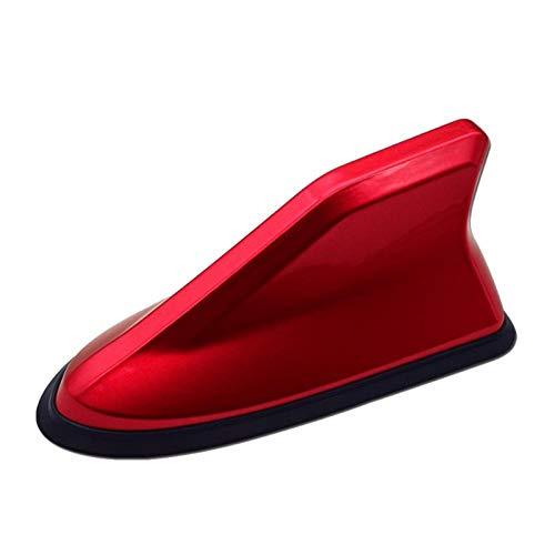 XAGB Amplificador universal de señal FM para radio de coche, antena de aleta de tiburón, decoración de techo de coche, repuesto lateral de 6 colores (color rojo)