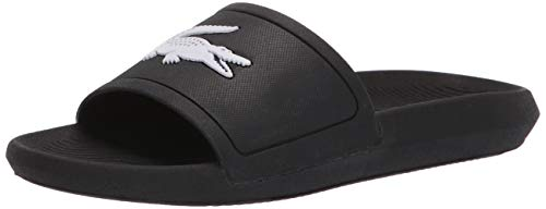 Lacoste Women's Croco Slide Sandal, Black/White, 8 M US