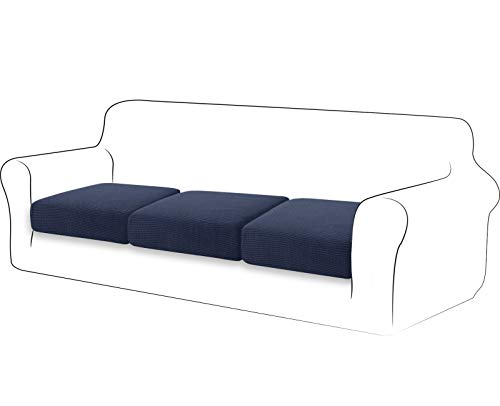 TIANSHU Fodera per cuscino ad alta elasticità Cuscino per divano Fodera per mobili Protezione per divano Coprisedile per divano Fodere per cuscino a 3 fette pezzo per sedia (3 fette, Blu Scuro)