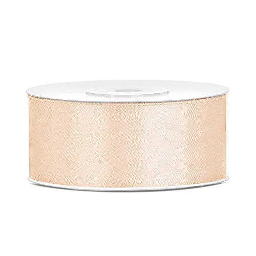 DaLoKu Satinband 6/12/25/38/50/100mm x 25m Geschenkband Schleifenband, Größe: 25mm x 25m, Farbe: Creme