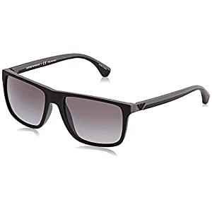 Armani sunglasses for men and women Emporio Armani Men's EA4033 Square Sunglasses, Black/Grey Rubber/Polarized Grey Gradient, 56 mm