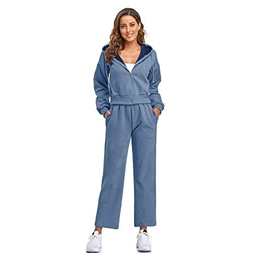 Dihope - Conjunto de 2 piezas de chándal para mujer, con capucha, sudadera, pantalón de deporte, informal, para otoño e invierno, color azul