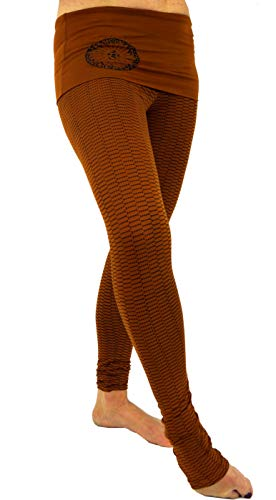 GURU SHOP Yoga-Hose mit Breitem Bund, Mandala Yoga Leggings Bio-Baumwolle Yogi, Damen, Caramel, Size:XL (40), Shorts, Leggings Alternative Bekleidung
