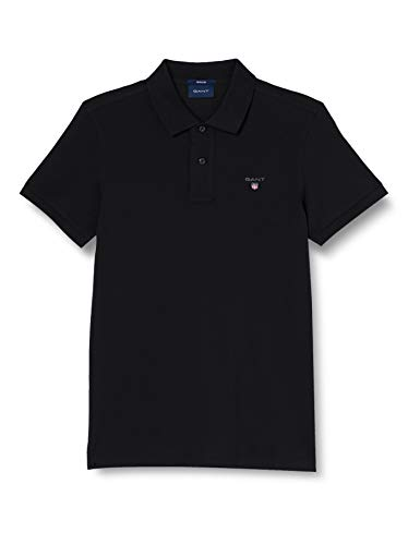 GANT The Original Pique SS Rugger Camisa de Polo, Negro, XS para Hombre