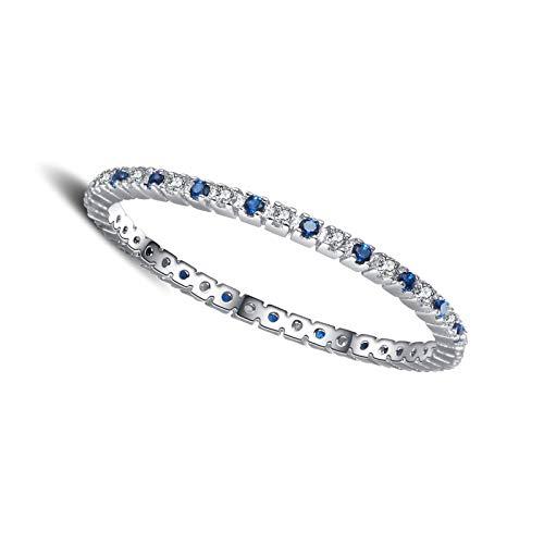 litulituhallo Anillos de plata de ley chapados en oro blanco para mujer, alianzas de boda eternidad con diamantes azules