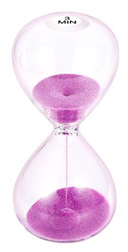 SuLiao Sanduhr für 3 Minuten, 13 cm, violette Sanduhr, große Sanduhr für 3 Minuten, Stundenglas-Sanduhr für Kinder, Spiele, Klassenzimmer, Zuhause, Schreibtisch, Bürodekoration
