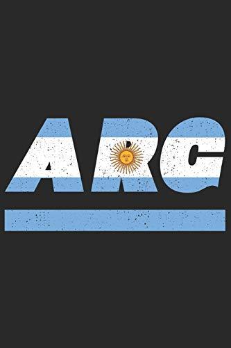 ARG: Argentinien Notizbuch mit karo 120 Seiten in weiß. Notizheft mit der argentinische Flagge