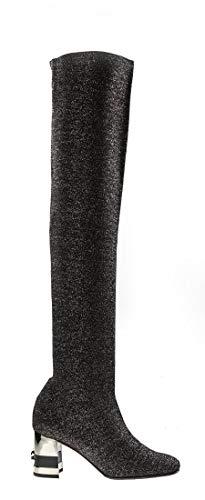 Baldinini 6627 Thigh-High Boots in Black-Metal-Silver Stretch Fabric Italian Designer Women