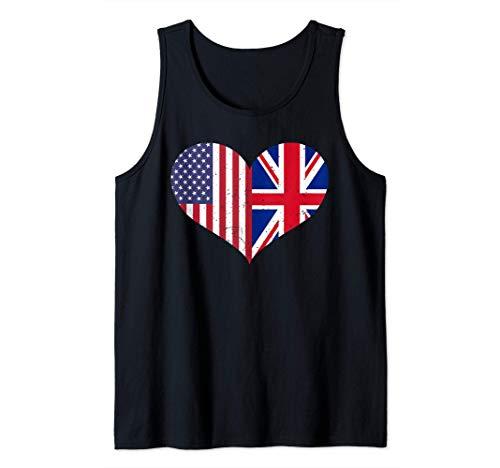 Witziges Fahnen T-Shirt - England USA Amerika Flagge Herz Tank Top
