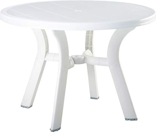 Compamia Truva 42' Round Resin Patio Dining Table in White, Commercial Grade