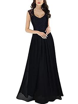 Miusol Women s Casual Deep- V Neck Sleeveless Vintage Maxi Black Dress medium