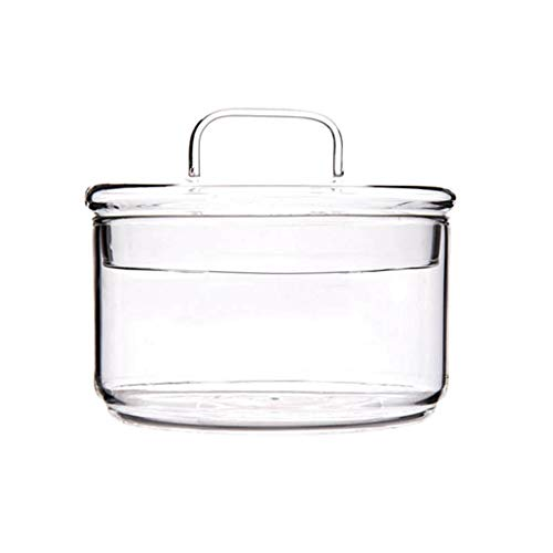circulor Glasschale, Überlappende Hitzebeständige Glasschüssel Transparente Salatschüssel Kreative Dessert-Obst-Sharing-Box Mit Deckel Getreideglas