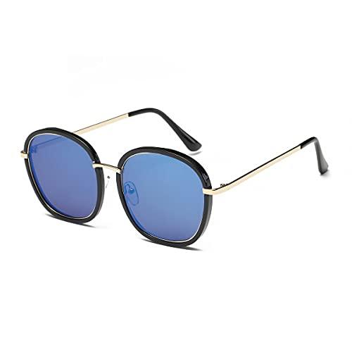 CandyT 2186 Moda Mujer Hombre Gafas de Sol Gafas de Sol de Gran tamaño con Estilo Lente de PC Metal Gafas de endurecimiento Ultravioleta