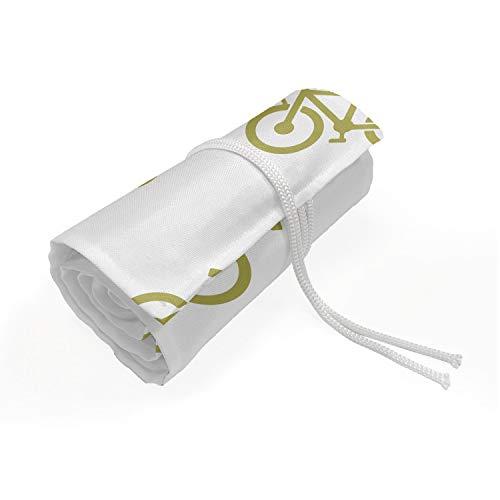 ABAKUHAUS Khaki Mäppchen Rollenhalter, Einfaches Design Fahrrad-Piktogramm, langlebig und tragbar Segeltuch Stiftablage Organizer, 72 Schlaufen, Khaki Weiß
